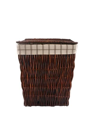 Sever Hasır Koyu Kahve Dikdörtgen Çamaşır Sepeti 54Cm Renkli